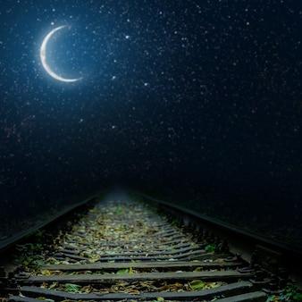 A railway at night