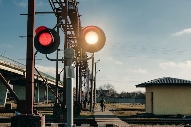 Railway pedestrian crossing flashing traffic light