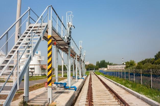 空港の給油施設の鉄道プラットフォーム