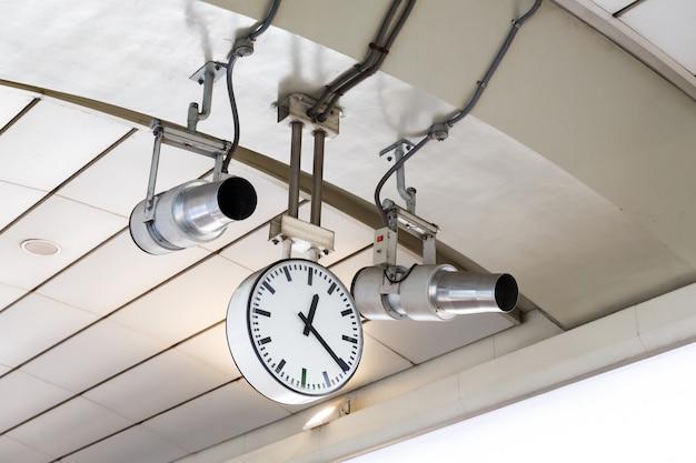 Railway station clock and ventilation jet fan