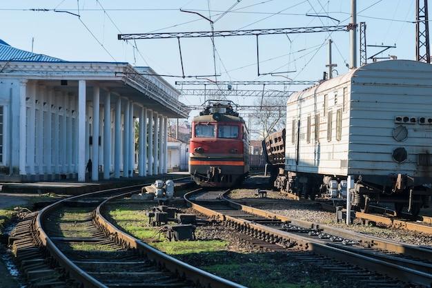 Railway station, semaphores and railroad crossings, poti, georgia.