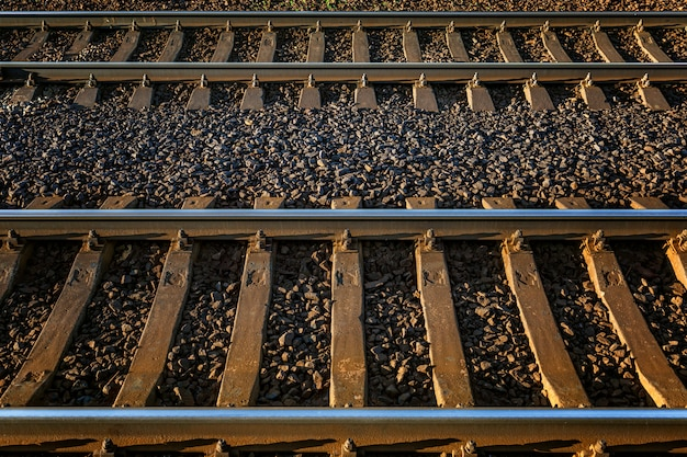 Railway track. metallic rails and sleepers. close-up. travel and tourism. wall. space for text.