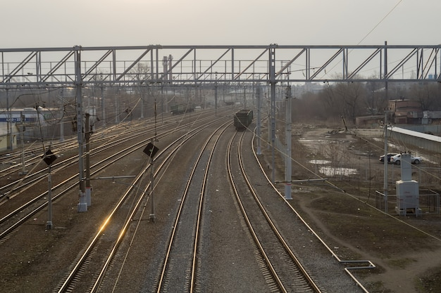 Railway track at train station