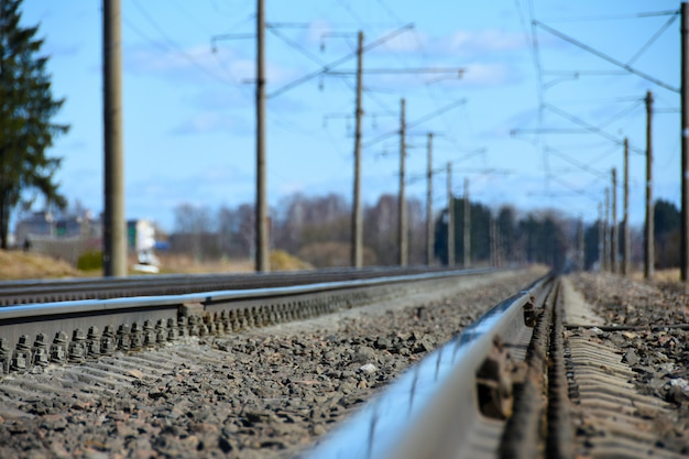 Railway tracks in the spring