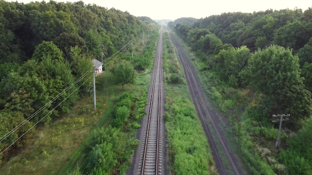 森や野原を通る線路。