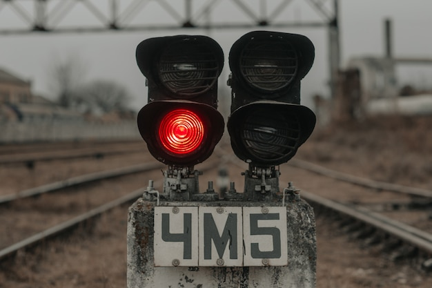 Railway traffic light at the station.