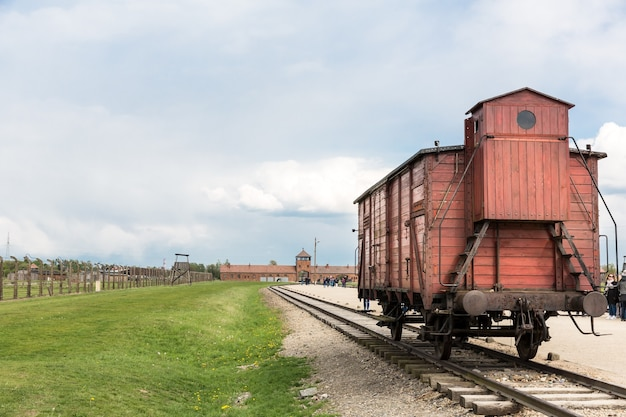 Railway wagon for prisoners, german concentration camp auschwitz ii, poland.