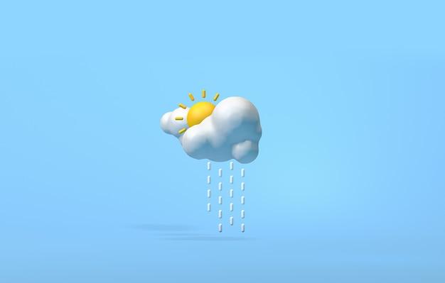 Дождь и солнце на синем фоне 3d-рендеринга изображения