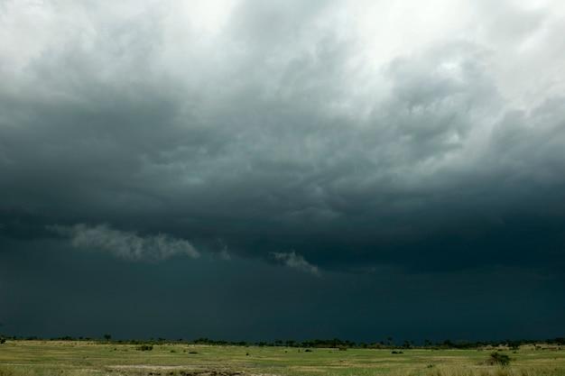 アフリカの風景、セレンゲティ国立公園、タンザニアのセレンゲティに雨の雲
