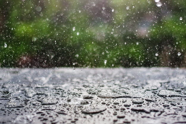 緑の自然の背景と黒板に落ちる雨滴