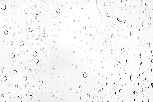 Rain drops on glass. silhouettes of water drops on a transparent surface.