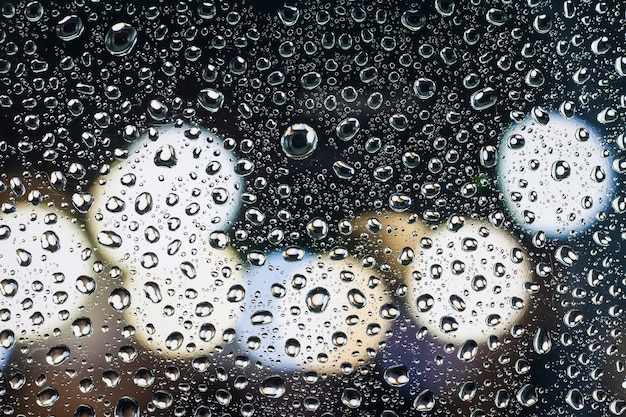 Rain drops on glass with a beautiful background