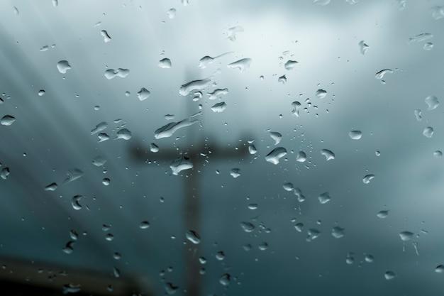 ガラスに雨が降る