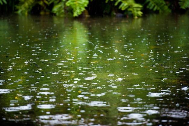 Капли дождя, рябь в луже с отражением голубого неба.