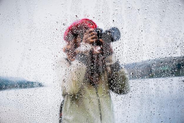 Rain effect on nature background