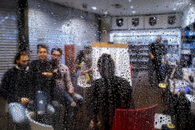 Rain effect on shop background