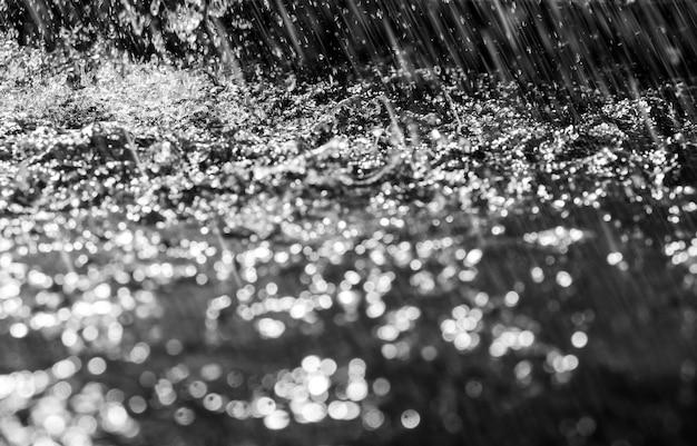 비가 떨어지는 배경 물 시작