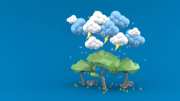 Дождь падает на большое дерево на синем. 3d визуализация