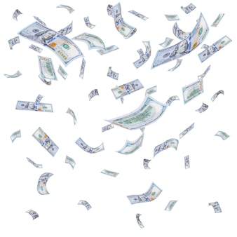 Rain from falling dollars isolated on white surface