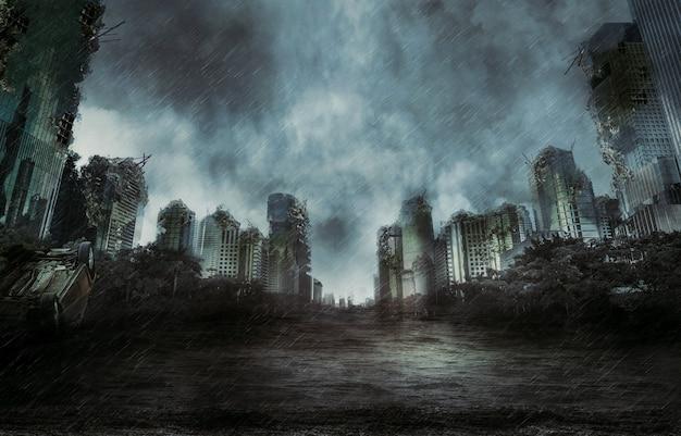 Дождь в разрушенном городе