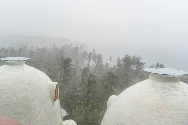 Rain season. holiday resort in a scenic village suffering from bad weather conditions in summer