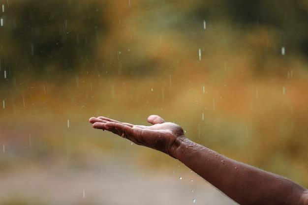 Дождевая вода падает на руки
