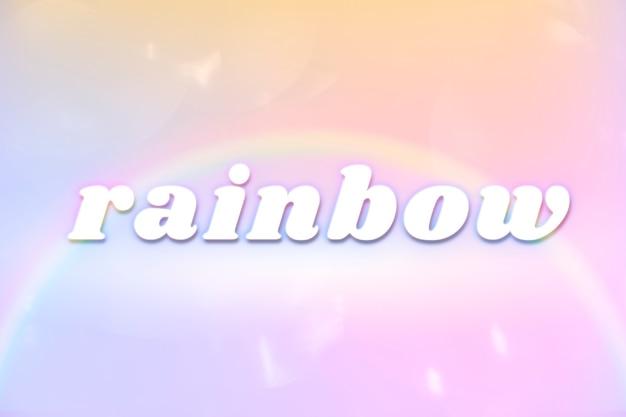 Tipografia estetica arcobaleno in caratteri colorati arcobaleno incandescente