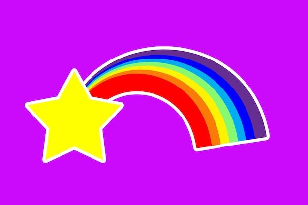 紫色の背景に虹と星のステッカー。