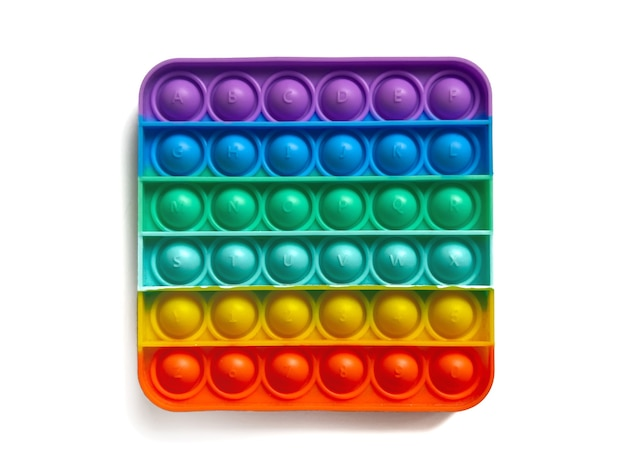 Rainbow antistress finger push toy for kids pop it isolated on white background.