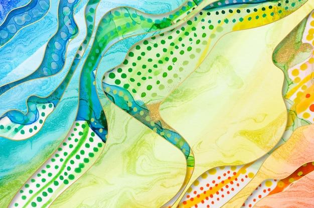 Текстура радуги художественного произведения с акварельными пятнами и мраморными элементами.