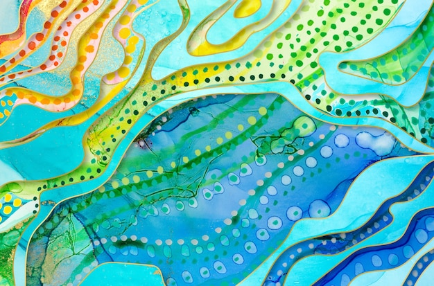Rainbow artwork texture with with watercolor spots and marble elements