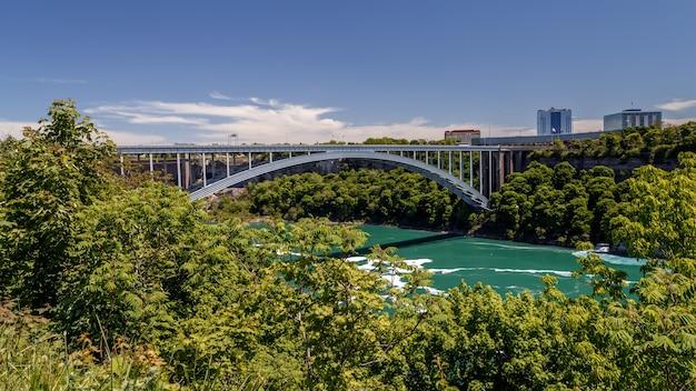 Радужный мост через реку ниагара у стального арочного моста ниагарского водопада, соединяющего города