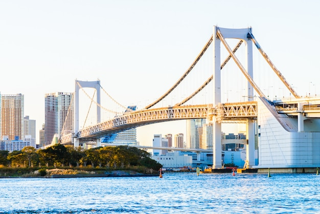 Rainbow bridge in tokyo city at japan