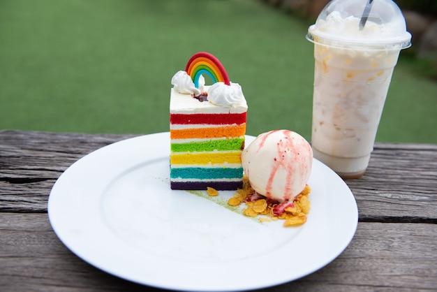 Rainbow cake and vanilla ice cream