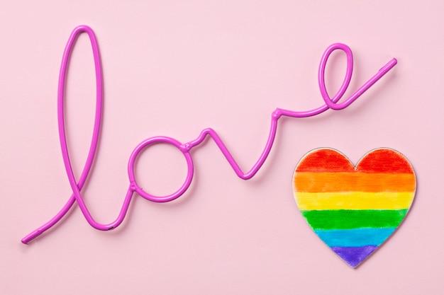 Lgbt 게이 프라이드의 무지개 색 줄무늬 상징. 공간 복사