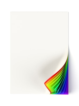 Rainbow colored curled corner on a blank document