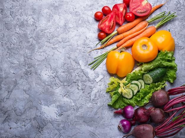 虹色の野菜。健康食品のコンセプトです。上面図