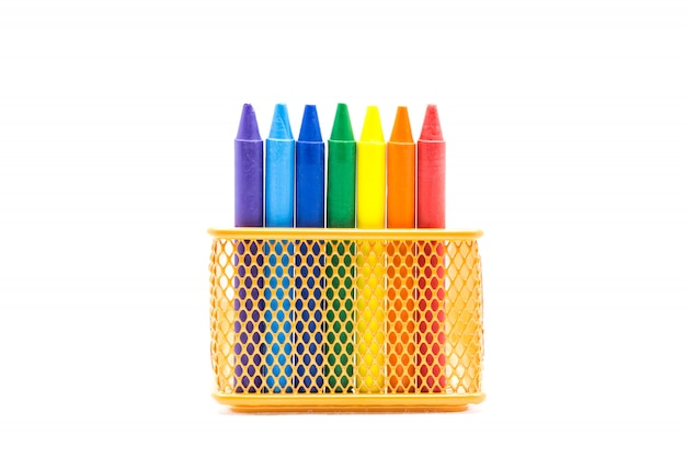 Rainbow crayon colored on the orange basket