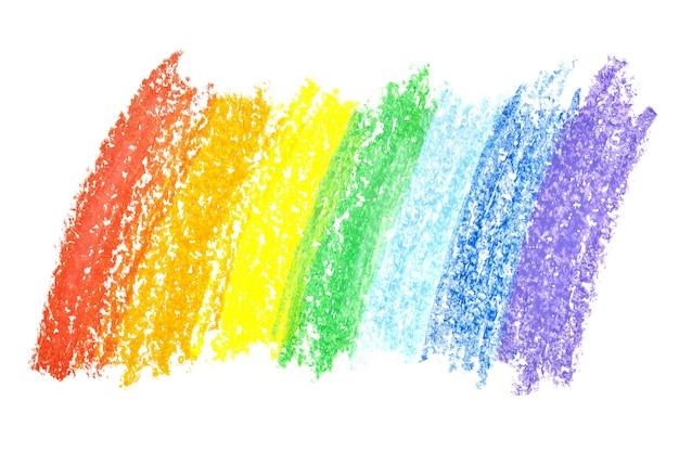 Мазки карандашом радуги, изолированные на белом фоне