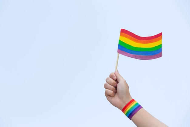 Rainbow  flag awareness for lgbt community pride concept
