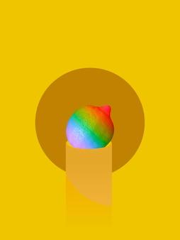 Радужный флаг на подставке, символизирующей гордость