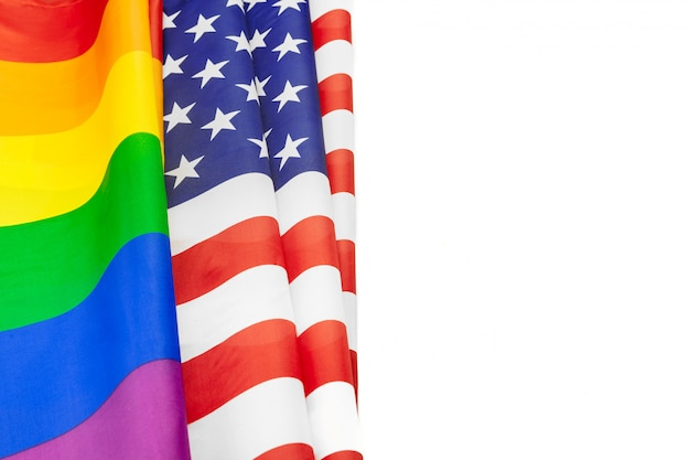 Rainbow flag of pride and usa flag
