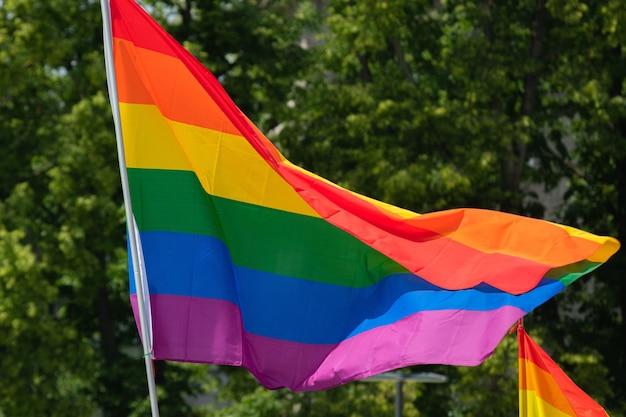 게이 퍼레이드 이벤트에서 lgbt 커뮤니티를 지원하는 무지개 깃발.