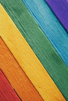Rainbow flag wood plank texture background for design