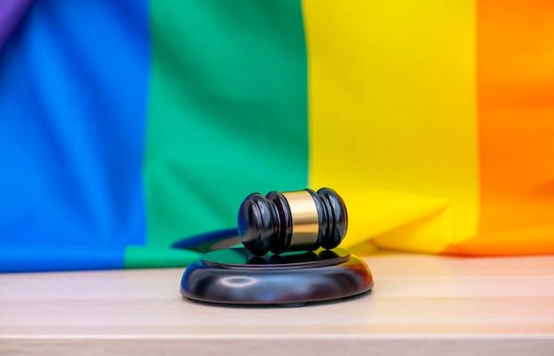 Rainbow flag and wooden gavel