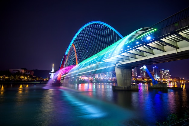 Шоу радужных фонтанов на мосту экспо в южной корее