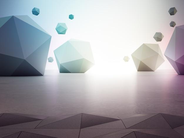 Rainbow geometric shapes on gray concrete floor.