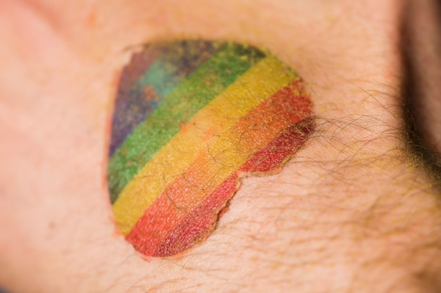Rainbow heart on skin