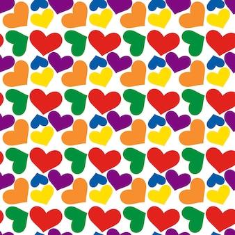 Радуга сердца, бесшовные модели на день святого валентина. цвет флага лгбт