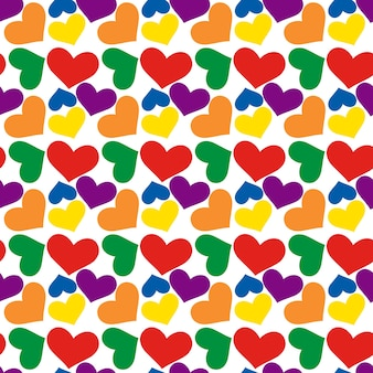 Rainbow hearts, seamless pattern for valentine's day. lgbt flag color